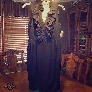 Marc New York black fitted dress. Ruffled neckline